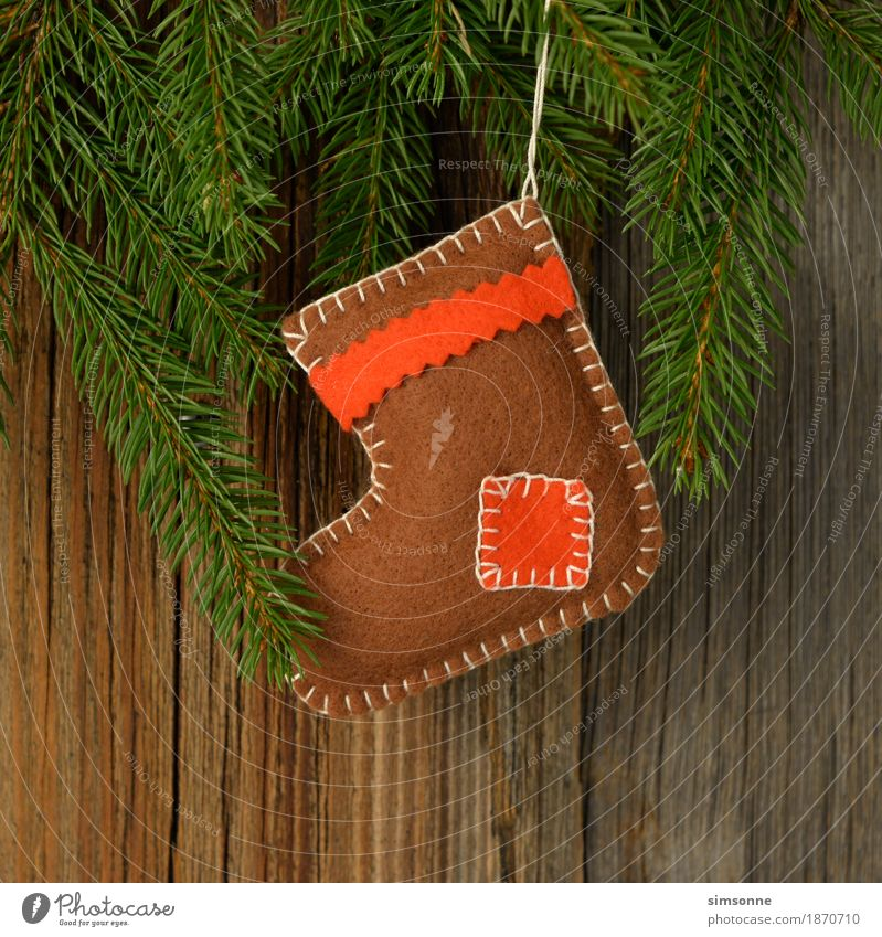 Christmas & Advent Tree Background picture Wood Copy Space Twig Cloth Flag Long Christmas tree Santa Claus Cozy Wool Handcrafts Rustic Knit
