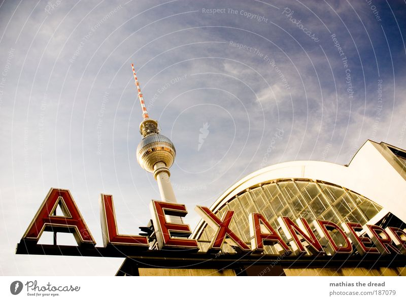 ALEXANDER Clouds Beautiful weather Berlin Town Capital city Downtown Skyline Deserted Train station Architecture Facade Window Satellite dish Berlin TV Tower
