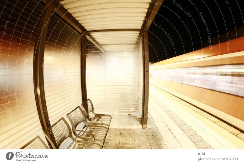 Railroad Room Wait Transport Night Speed Train station Furniture Row of seats Passenger traffic Symmetry Commuter trains Platform Driving Fisheye Motion blur