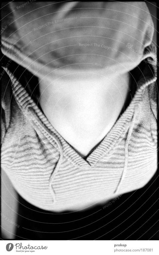 Alienated Human being Feminine Woman Adults Sweater Fear Loneliness Low neckline Neck Black & white photo Interior shot Day Bird's-eye view Upper body