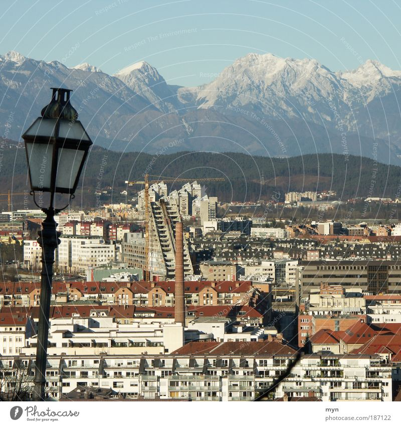 Ljubljana Vacation & Travel Tourism Far-off places Sightseeing City trip Winter Snow Mountain Landscape Beautiful weather Park Alps Peak Snowcapped peak Glacier