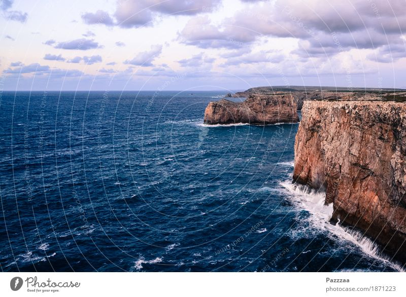 cliff coast Nature Wind Gale Rock Waves Coast Bay Ocean Swimming & Bathing Wild Atlantic Ocean Algarve Portugal Cliff Surf Colour photo Exterior shot Deserted