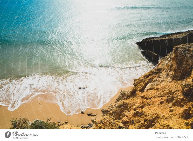 beachhead Nature Summer Beautiful weather Rock Waves Coast Beach Bay Wild Blue Turquoise Atlantic Ocean Portugal Algarve Colour photo Exterior shot Deserted