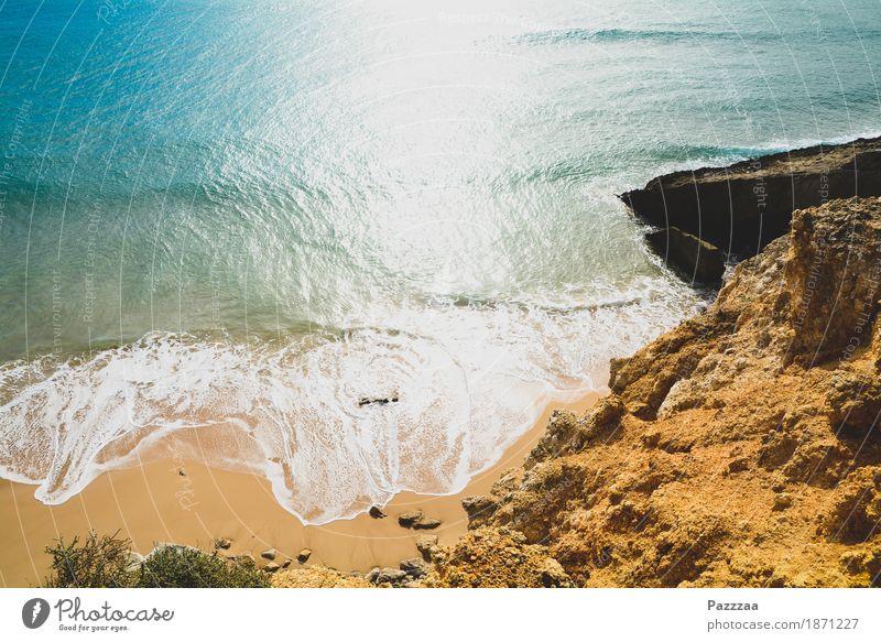 Nature Blue Summer Beach Coast Rock Wild Waves Beautiful weather Bay Turquoise Portugal Atlantic Ocean Algarve