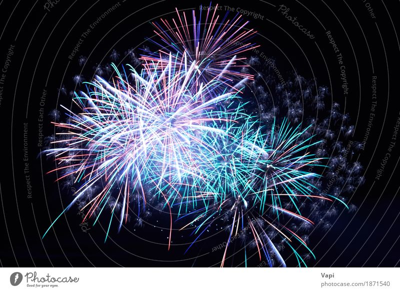 Blue colorful fireworks on the black sky Sky Blue Christmas & Advent Colour Green White Red Joy Dark Black Art Freedom Feasts & Celebrations Party Design Bright