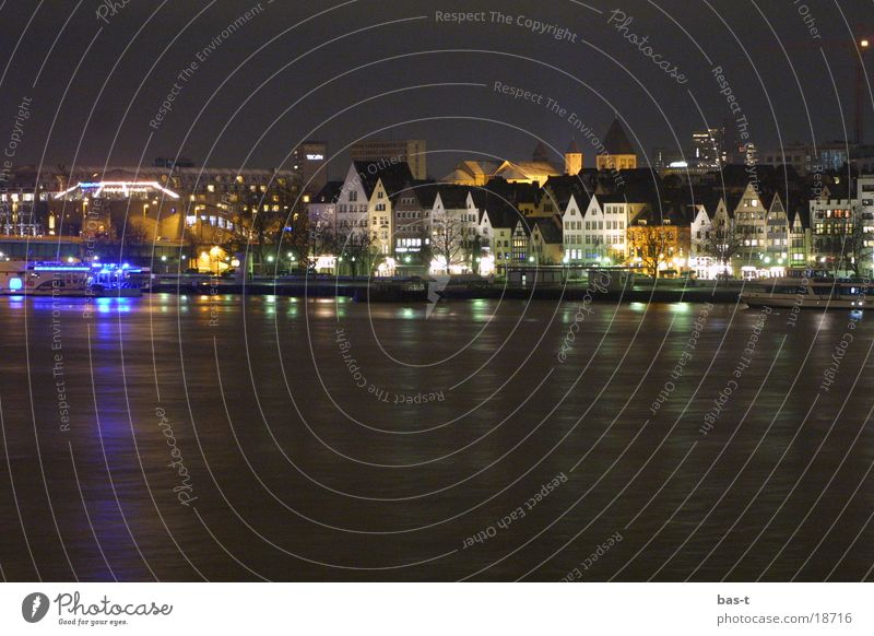 Old Town at night hell! Cologne Rhine Long exposure Night Panorama (View) House (Residential Structure) Europe Old town Carnival River Large