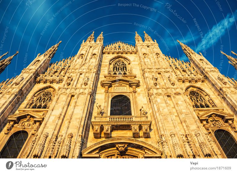 Night view of famous Milan Cathedral Duomo di Milano Vacation & Travel Old Blue Town White Black Architecture Yellow Wall (building) Religion and faith Building Wall (barrier) Art Stone Brown Tourism