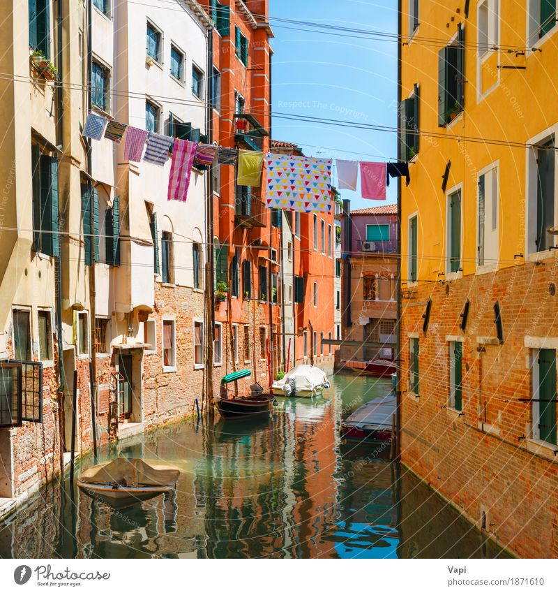Grand Canal and Basilica Santa Maria della Salute in sunny day Sky Vacation & Travel Old Blue Summer Town Green White Landscape Red House (Residential Structure) Black Environment Architecture Yellow Lifestyle