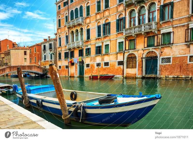 Grand Canal in Venice at sunny day Sky Vacation & Travel Old Blue Summer Town Green Water White Landscape Red Clouds House (Residential Structure) Black Architecture Yellow