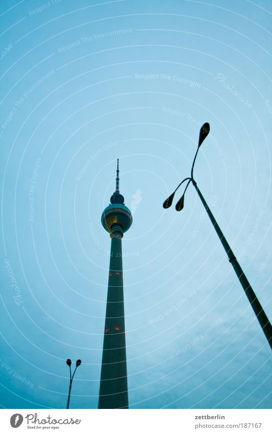 Sky Clouds Berlin Architecture Lamp Tower Manmade structures Lantern Landmark Capital city Berlin TV Tower Antenna Television tower Blue sky Alexanderplatz
