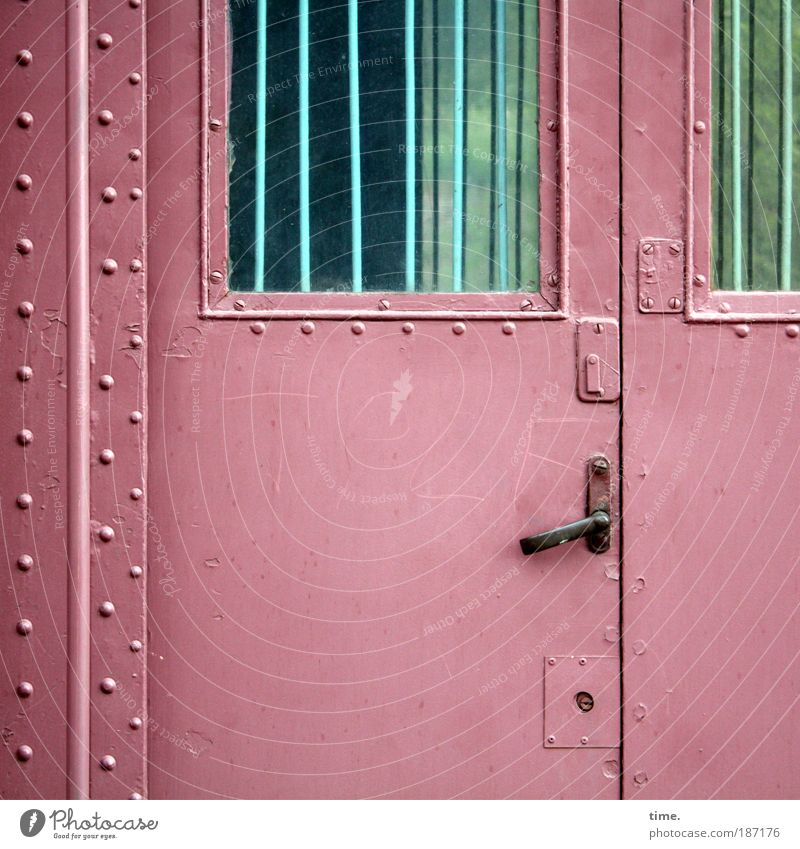 Railroad Closed Logistics France Entrance Lock Train station Nostalgia Iron Passenger traffic Rod Grating Frontal In transit Rivet Stability