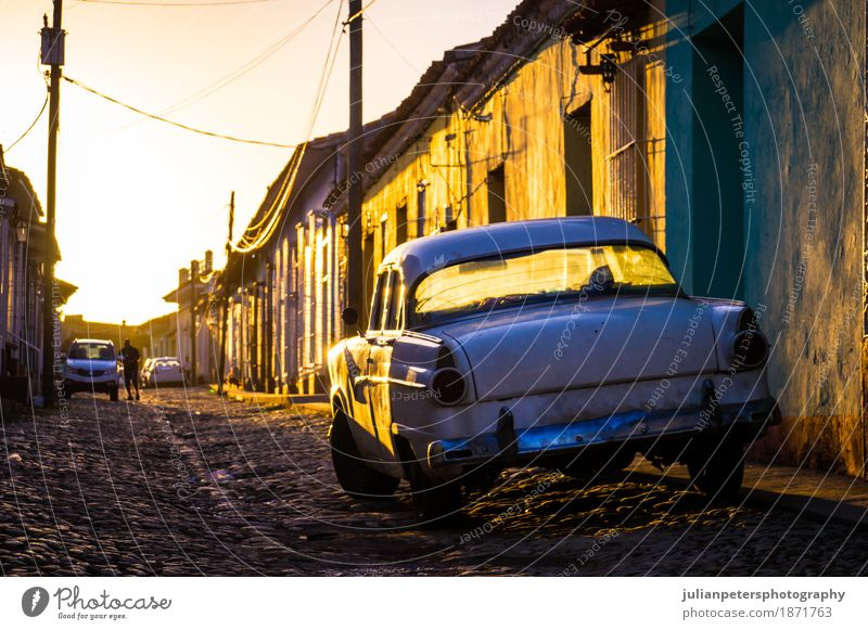 Trinidad, Cuba: Street with oldtimer at sunset Vacation & Travel Old Town Beautiful White House (Residential Structure) Tourism Facade Bright Transport Car Gold