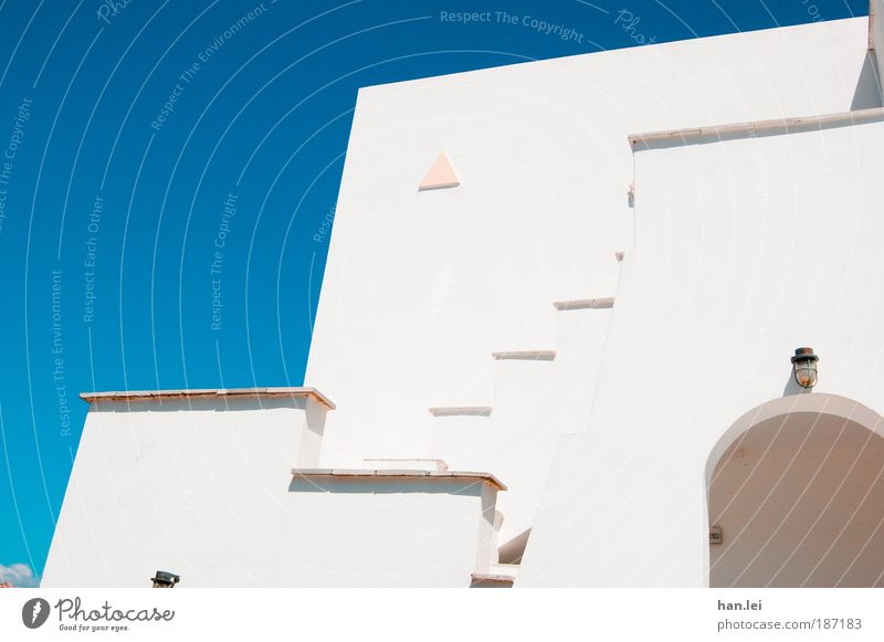 confusion of lines Summer vacation House (Residential Structure) Beautiful weather Stairs Facade Balcony Terrace Line Simple Blue White Perspective Blue sky