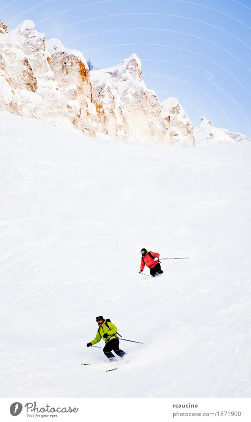 Two skiers going downhill in powder snow Winter Snow Mountain Sports Skiing Man Adults Landscape Cold Green White Caucasian Clear sky Ski-run Europe Extreme