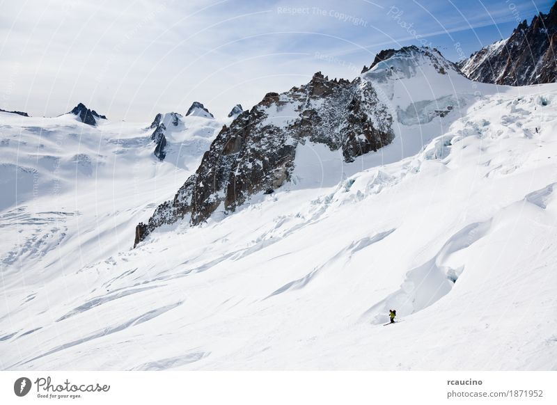 Male skier moving down in snow powder Sky Man Green Landscape Joy Winter Mountain Adults Sports Snow Europe Adventure Skiing France Frozen Glacier