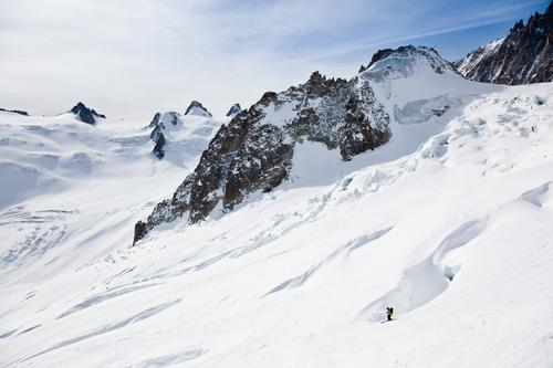 Male skier moving down in snow powder Sky Man Green Landscape Joy Winter Mountain Adults Sports Snow Europe Adventure Skiing France Frozen Glacier