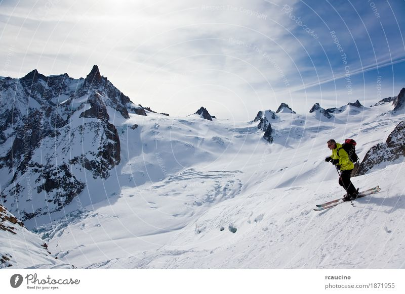 Skier in Vallèe Blanche, Chamonix, Mont Blanc massif, France Joy Adventure Winter Snow Mountain Sports Skiing Man Adults Landscape Sky Glacier Green Clear sky