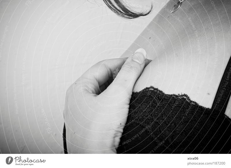 silent Feminine Woman Adults 1 Human being Elegant Hand Bra Pendant Hair and hairstyles Fingernail Low neckline Black & white photo Interior shot Close-up