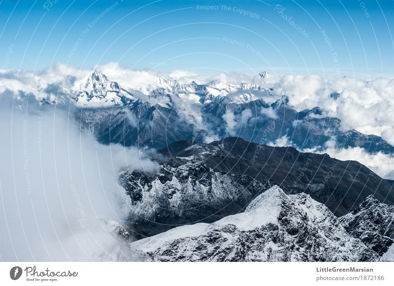 Misty Mountains [1] Climbing Mountaineering Hiking Nature Landscape Elements Clouds Winter Ice Frost Snow Rock Alps Cold Wild Blue Black White Success Brave