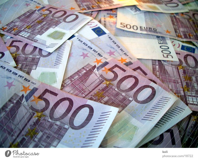 Many Euros Bank note 500 Possessions paper money pile of money