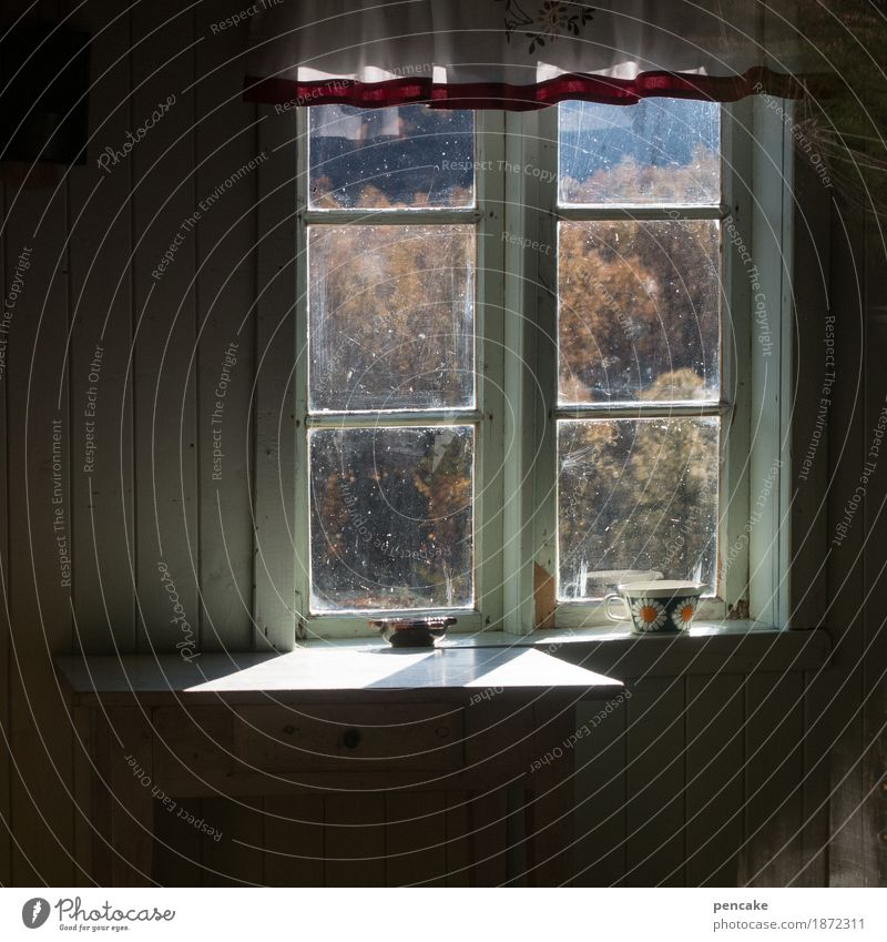 live simply Nature Landscape Autumn Mountain House (Residential Structure) Window Moody Joie de vivre (Vitality) Peaceful Hospitality Caution Calm Honest