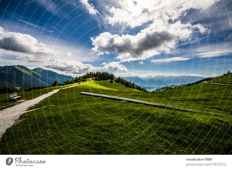 Nature Vacation & Travel Summer Landscape Relaxation Clouds Far-off places Mountain Environment Lanes & trails Happy Moody Horizon Contentment Hiking Cycling