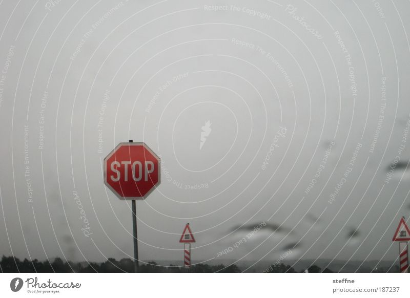 IN THE NAME OF LOVE Bad weather Rain Road sign Stop sign St. Andrew's Cross Railroad crossing Stagnating Colour photo Exterior shot Deserted Copy Space top