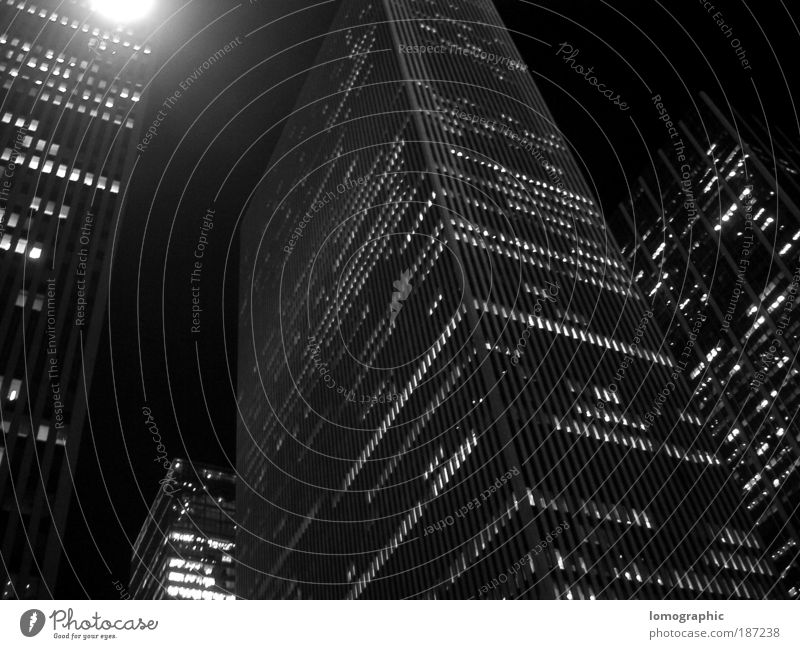 City House (Residential Structure) Facade Night Black & white photo Modern High-rise Colour Structures and shapes Upward New York Americas New York City Manhattan Worm's-eye view Office building