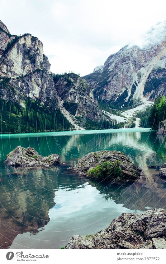 Braies Wild Lake Healthy Athletic Fitness Well-being Senses Relaxation Calm Leisure and hobbies Vacation & Travel Tourism Trip Adventure Far-off places Freedom