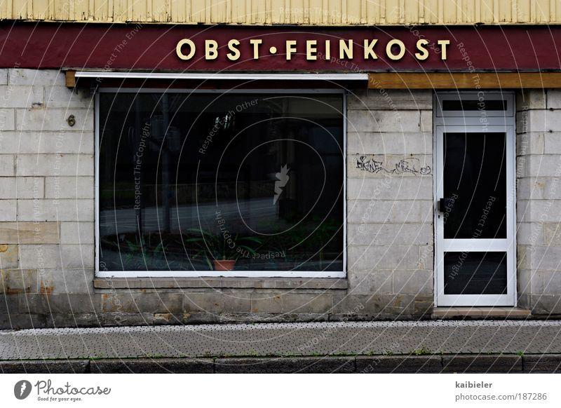 Gourmet Temple Food Fruit Delicatessen Delicacy Shop window Facade Blankenburg Town Pedestrian precinct Deserted Building Window Door Signs and labeling Hideous