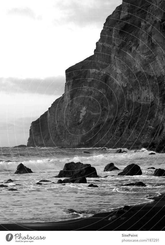 silent Landscape Sand Water Clouds Sunrise Sunset Rock Mountain Coast Beach Bay Ocean Island Stone Black White Calm Gomera Valley Black & white photo