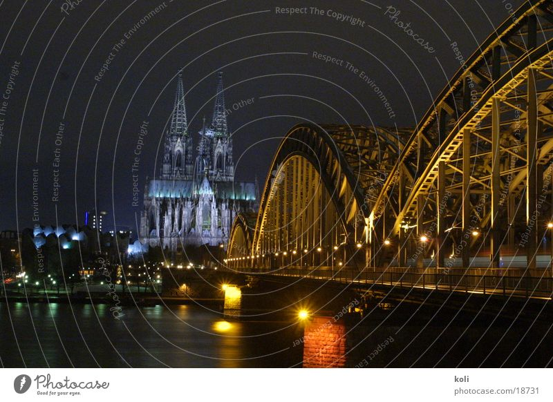 Cologne Cathedral at night Night Dark Lamp Long exposure Architecture Dome Rhine Bridge