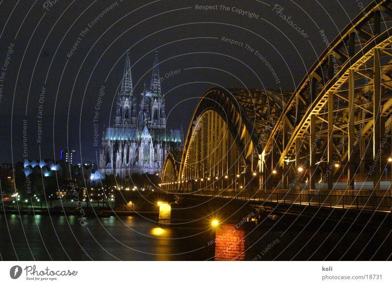 Night Lamp Dark Architecture Bridge Cologne Dome Rhine Cologne Cathedral