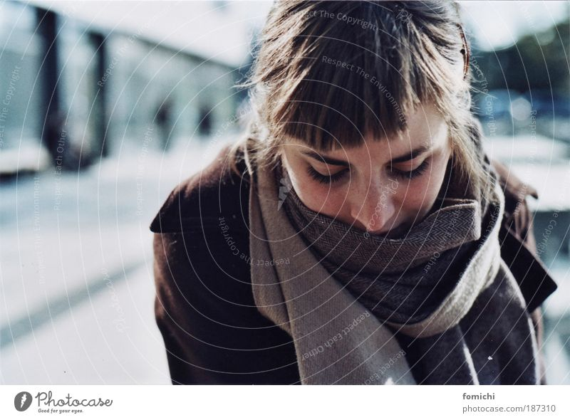 Human being Youth (Young adults) Winter Adults Cold Autumn Feminine Think Woman Hope 18 - 30 years Young woman Common cold Curiosity Longing Portrait photograph