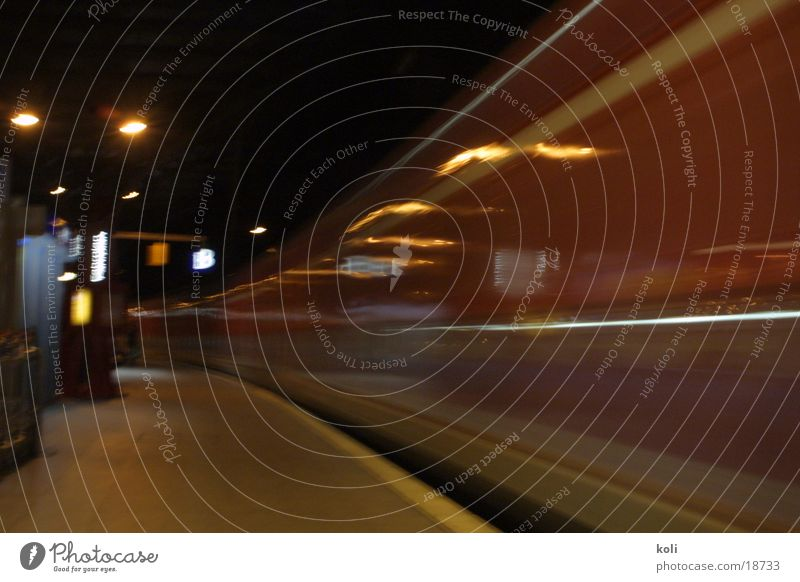 That's where the train left. Cologne Railroad Long exposure Speed Dark Night Transport Central station Curve Blur Ski-run