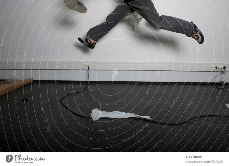 Jump and Catch Human being Youth (Young adults) White Black Adults Wall (building) Gray Wall (barrier) Legs Funny Brown Abstract Fresh Running Authentic