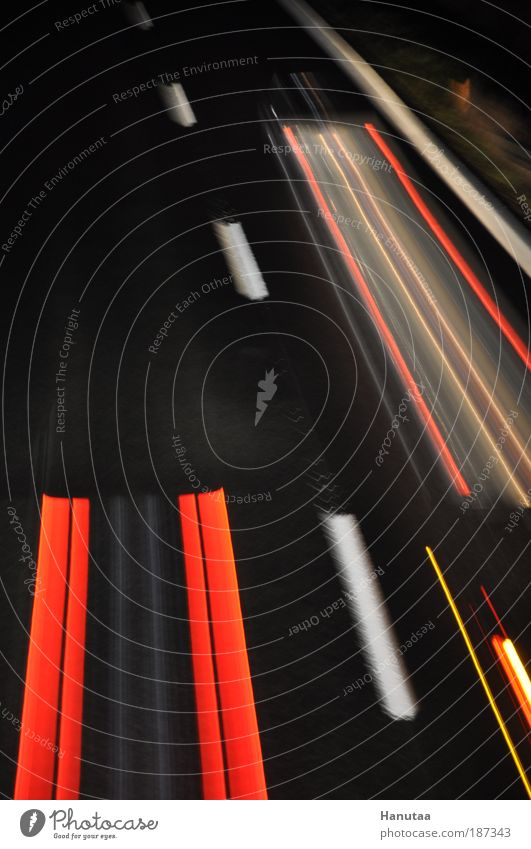 Red Street Night Car Line Glittering Road traffic Concrete Transport Driving Stripe Truck Highway Shadow String
