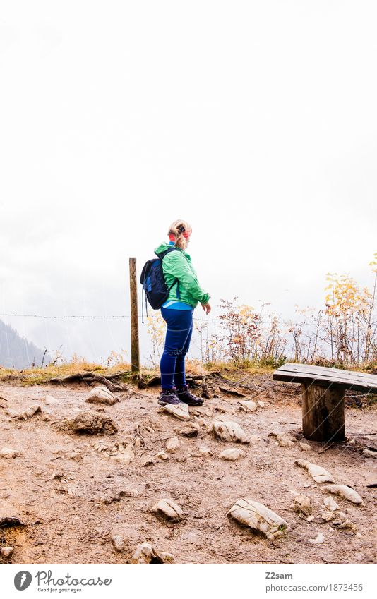 half Mountain Hiking Sports Woman Adults 30 - 45 years Landscape Clouds Autumn Bad weather Fog Alps Peak Backpack Headband Going Blonde Natural Gloomy Serene
