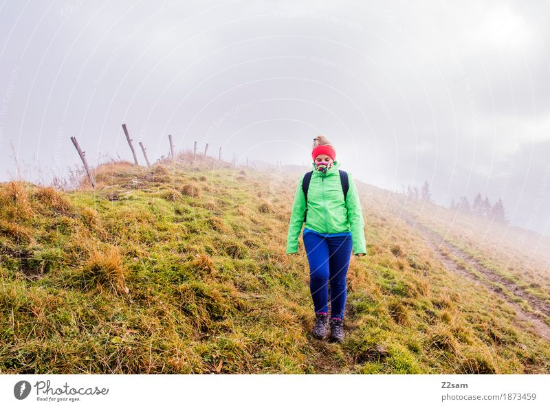 Somewhere in nowhere Leisure and hobbies Mountain Hiking Sports Young woman Youth (Young adults) 18 - 30 years Adults Nature Landscape Autumn Bad weather Fog