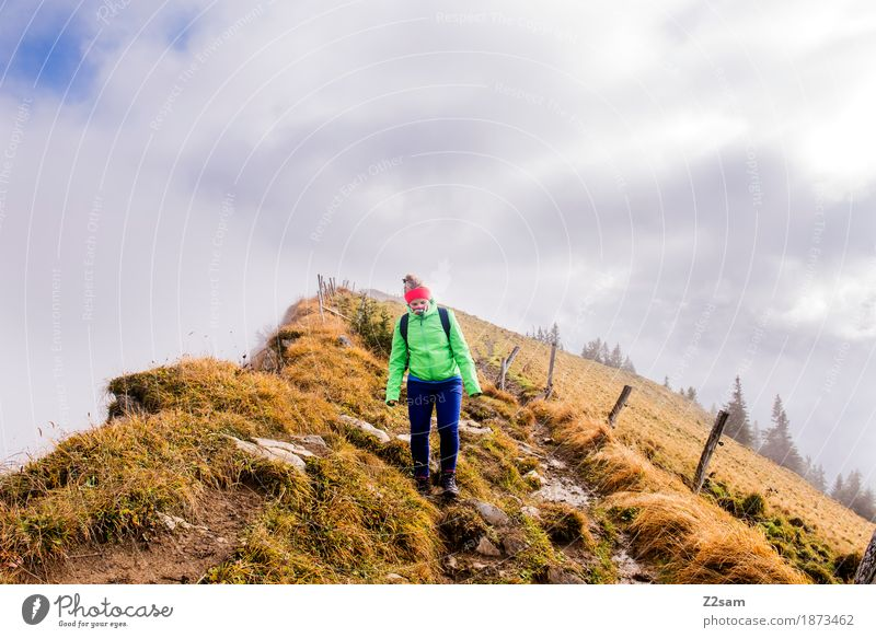 downwards Mountain Hiking Sports Woman Adults Nature Landscape Clouds Sun Autumn Fog Grass Alps Backpack Headband Blonde Going Hip & trendy Athletic Brave