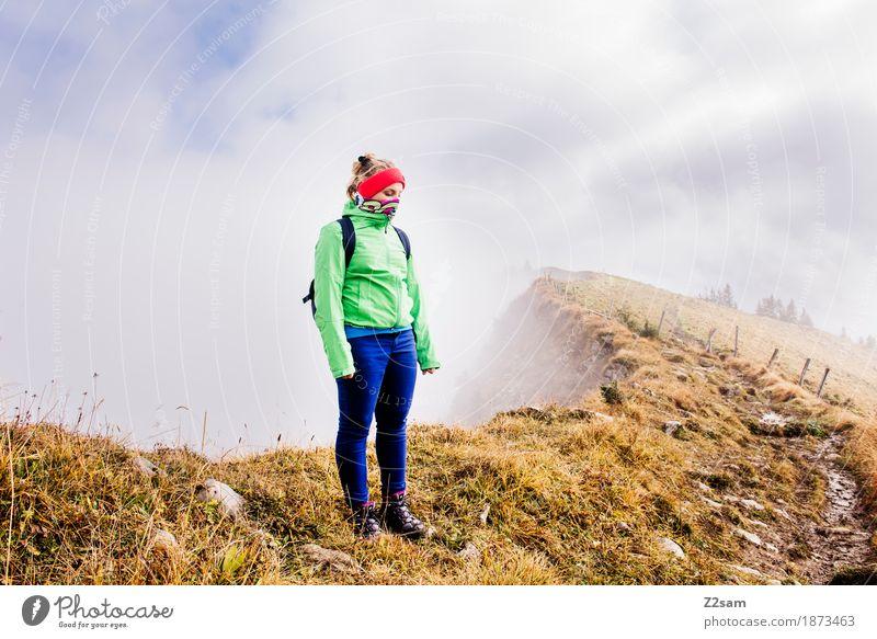 brrrrrrr! Mountain Hiking Sports Woman Adults Nature Landscape Clouds Sun Autumn Fog Alps Peak Headband Backpack Blonde Stand Cool (slang) Gigantic Infinity