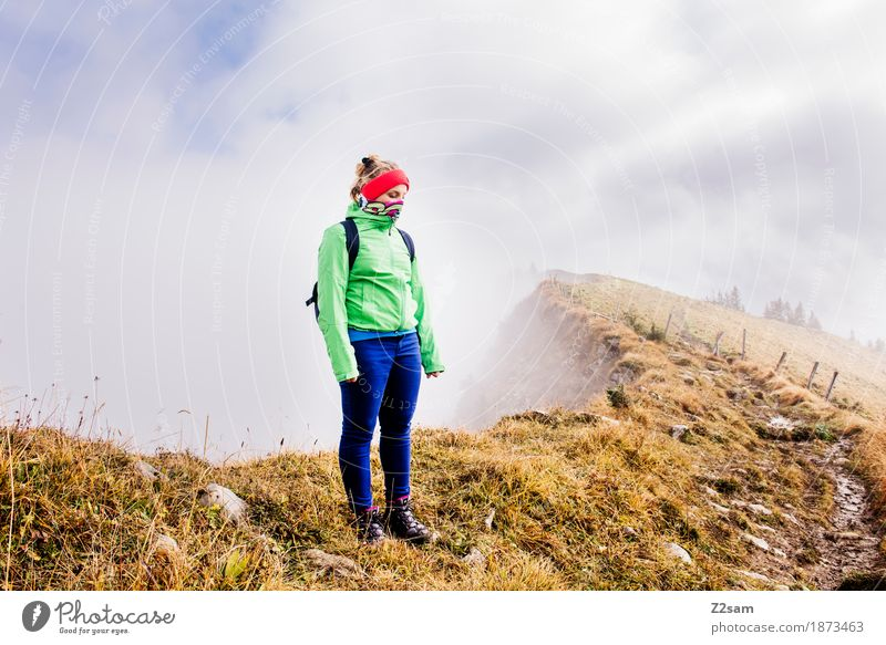 Woman Nature Sun Landscape Loneliness Clouds Mountain Adults Cold Autumn Lanes & trails Sports Fog Hiking Blonde Idyll