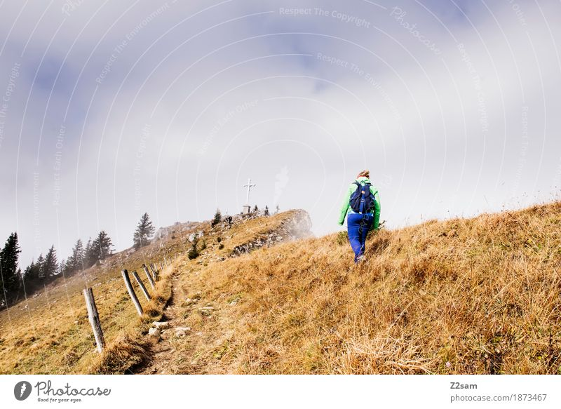Woman Nature Sun Landscape Relaxation Loneliness Mountain Adults Autumn Lanes & trails Natural Sports Going Fog Hiking Blonde