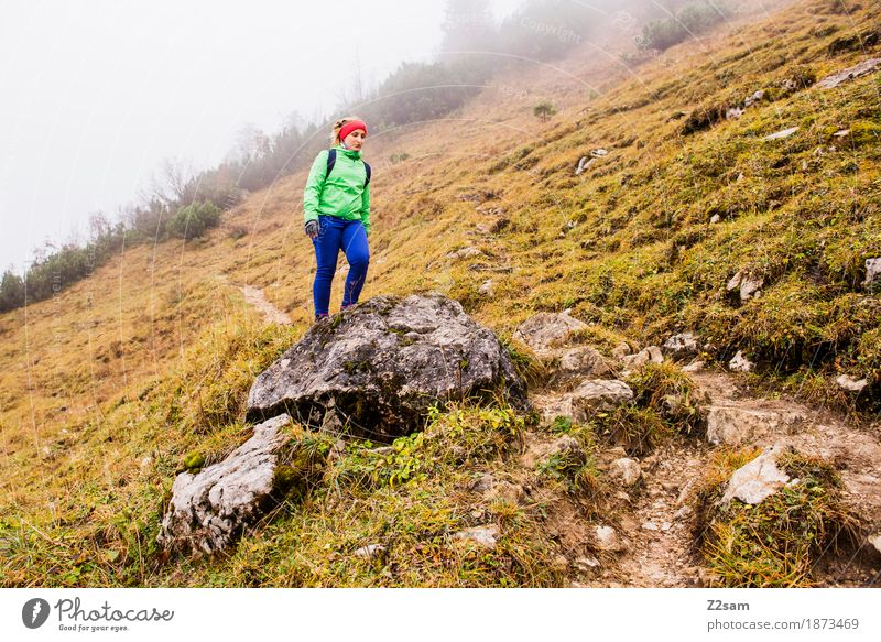 Spring? Lifestyle Leisure and hobbies Vacation & Travel Trip Adventure Mountain Hiking Sports Woman Adults 30 - 45 years Landscape Autumn Bad weather Fog Rock