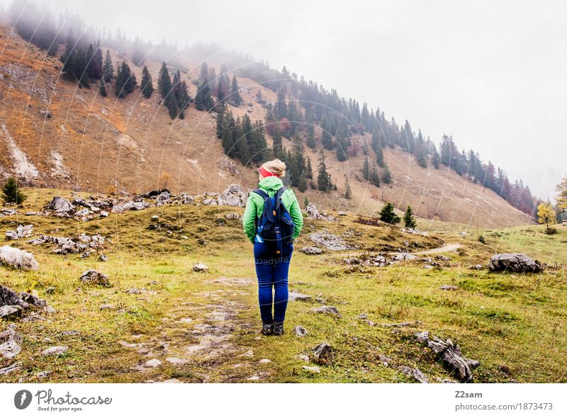 Woman Nature Youth (Young adults) Landscape Relaxation Loneliness Calm 18 - 30 years Mountain Adults Cold Autumn Meadow Natural Sports Above