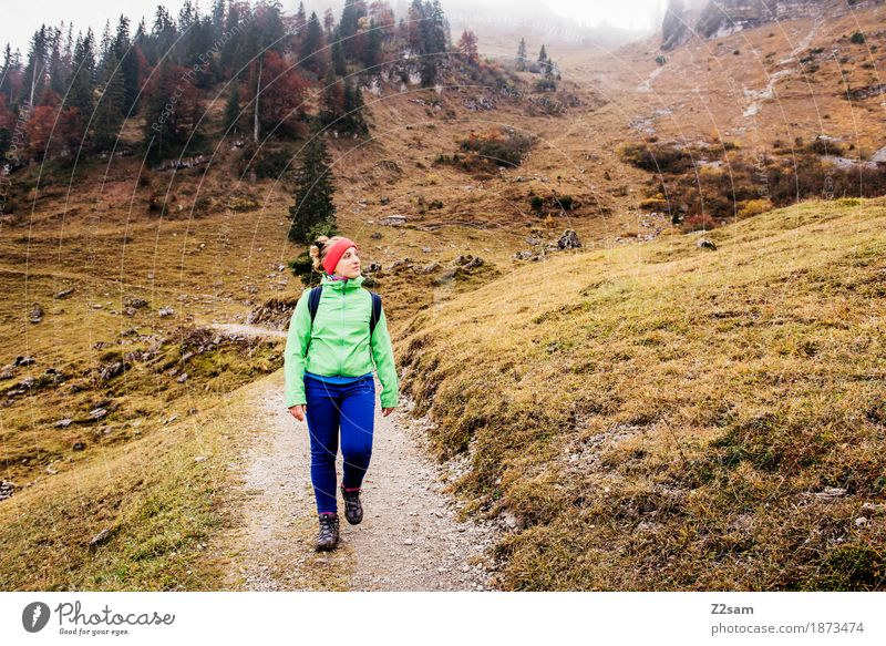 Nature Youth (Young adults) Young woman Landscape Relaxation Loneliness Clouds Calm 18 - 30 years Mountain Adults Autumn Lanes & trails Sports Going Leisure and hobbies