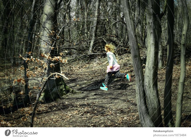 autumn girl Child Girl Infancy 1 Human being Nature Autumn Winter Forest Running Walking Sports Free Healthy Rebellious Speed Emotions Joy Self-confident Power