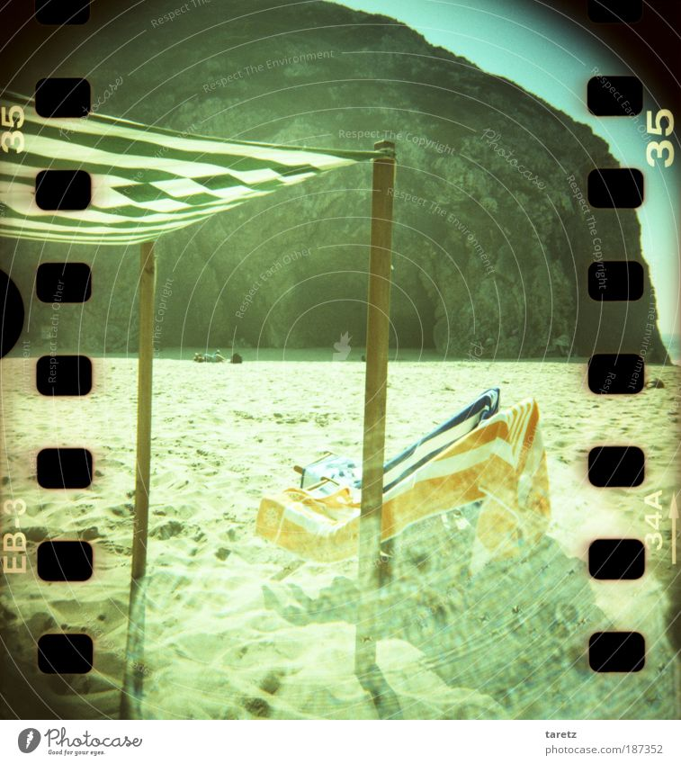Green Blue Summer Beach Vacation & Travel Ocean Calm Loneliness Far-off places Relaxation Dream Orange Rock Tourism Lomography Empty
