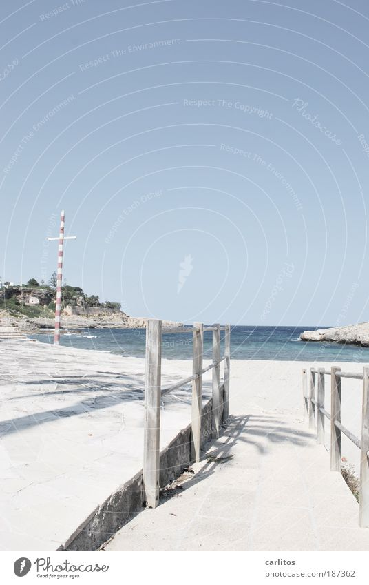 Sky Blue Water Vacation & Travel Ocean Summer Beach Calm Relaxation Lanes & trails Coast Sand Waves Rock Island Esthetic