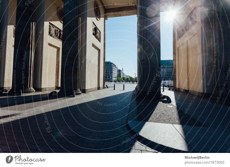 Brandenburg Gate in Berlin in the Backlight of the Morning Sun Germany Capital city Manmade structures Tourist Attraction Landmark Tourism Colour photo